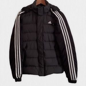 adidas Goose Down Black Hooded Puffer Jacket Small